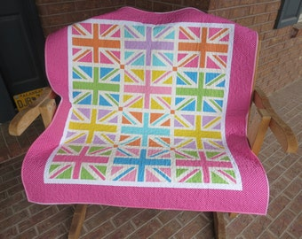 Union Jack Lap, Baby Or Toddler Quilt - Pink