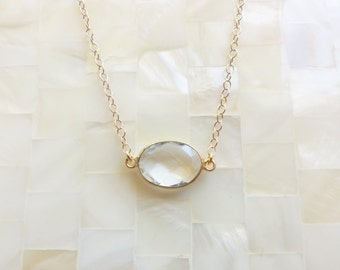 Oval Step-Cut Faceted Rock Crystal Quartz Vermeil Bezel Connector on Gold Chain Necklace (N1697)