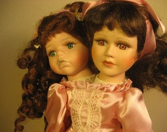 Two Headed Siamese Twins Altered Doll in Pink
