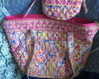 Purse tote bag, attached cosmetic bag/many pockets cotton quilted Sale!/lined pink