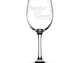 Standard Wine Glass-12 oz.-7586 Mother of Groom Personalized with Date