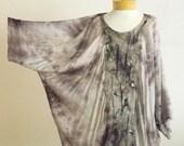 Lagenlook Tunic, Nuno felted tunic, OOAK wool and silk felted Art to Wear, felt top, gray tunic, silk tunic, Owl