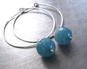 Angelite Hoop Earrings, Hammered Sterling Silver Wire Hoop Gemstone Earrings