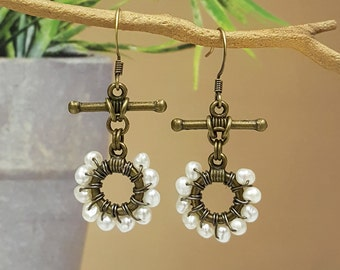 Antiqued Brass Wrapped with White Cultured Pearls Dangling Earrings, ER-0271