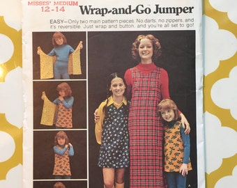 1970s Butterick Sewing Pattern 6875 Misses Wrap Jumper Dress Size 12-14- uncut-Butterick dress pattern, wrap dress, wrap jumper dress
