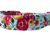 Floral Dog Collar / Rose Dog Collar / Flower Dog Collar / Girl Dog Collar / Pink Blue Dog Collar / Spring Dog Collar /