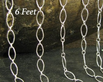 Sterling Silver Textured Large Link Footage chain Long -  Short Oval Links 6 ft CH41-6