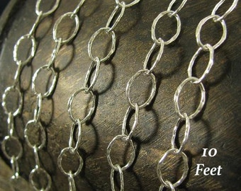 BULK Discount - 10% off - 10Feet - Large Sterling Silver Cable Chain 8.5mm x 5.6mm Shiny Hammered Oval Links CH45-10
