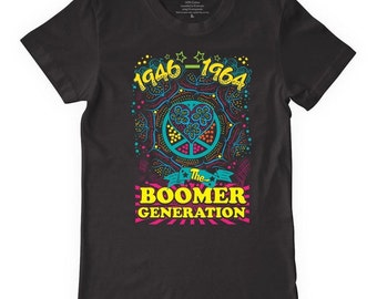 Baby Boomer Tees Turquoise Psychedelic T Shirt Cotton Purple Black Peace Sign a Groovy Festival Sacred Grateful Woodstock soft men ladies