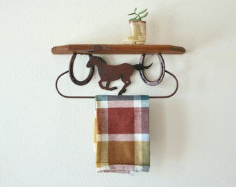 Vintage Horse Shoes  Shelf, Horse, Wood Shelf with Towel Rod, Wall Decor, Cowboy