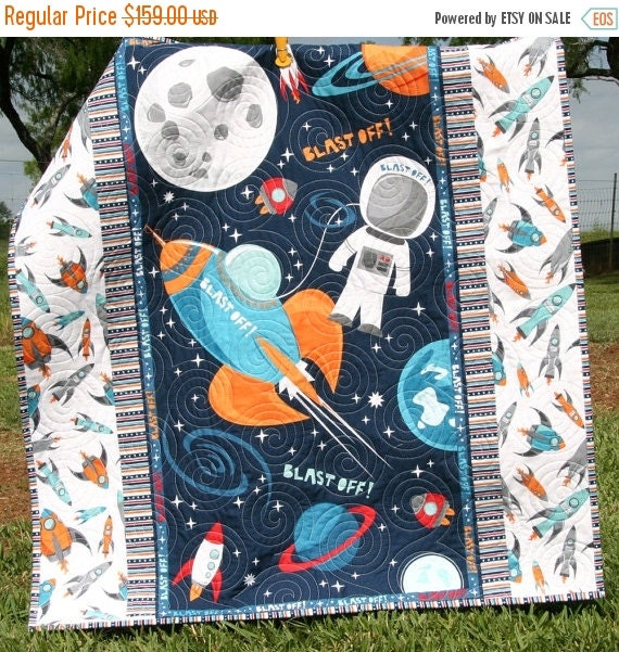 Space quilt baby boy blast off outer space by for Space baby fabric