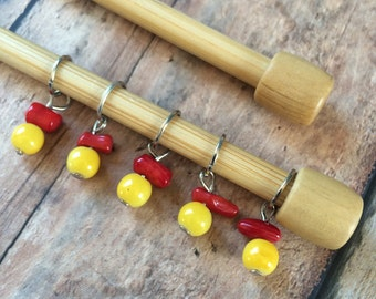 SALE Limoncello Red & Yellow Glass Stitch Markers - Set of 5