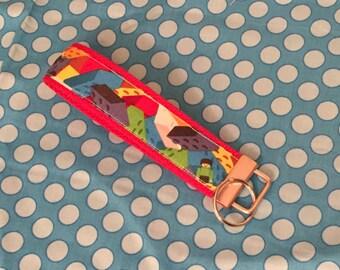 Lego fabric wristlet key chain key fob