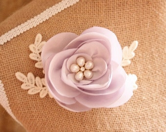 Fabric flower hair clip, pale lilac flower, satin flower, floral clip, bridal hair clip - 'Dilly'