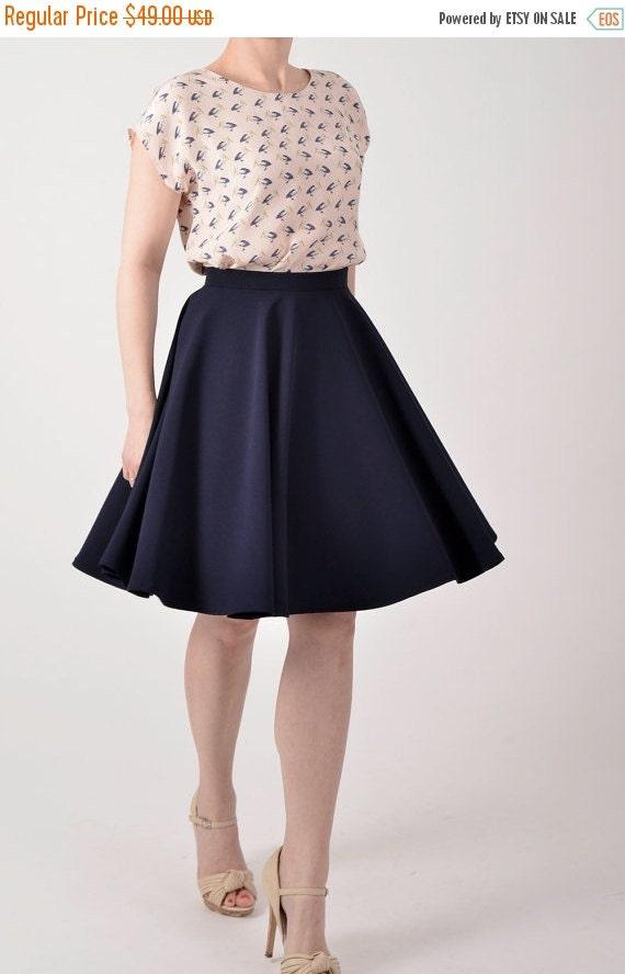 On Sale 25% off Navy blue skirt, custom made skirt, custom made circle skirt.