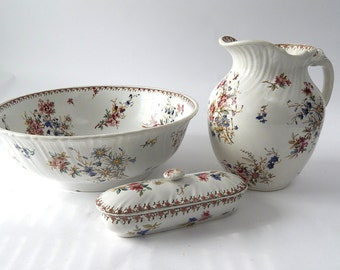 Vintage French Porcelain Pitcher and Basin Cream Transferware Shabby and Chippy