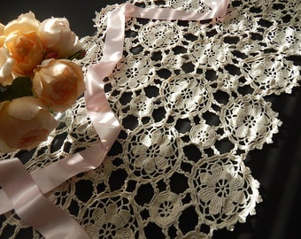 French Table Runner Wedding Hand Crocheted Very LONG