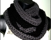 50 PERCENT OFF Beautiful Double shade Black and Charcoal Grey Infinity Scarf - Unisex