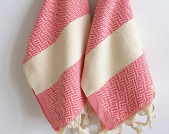 SALE 50 OFF/ SET 2 Towels / Head and Hand Towel / Diamond Style / Pink