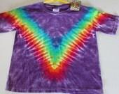 Tie dye Rainbow V tee shirt youth sizes