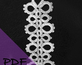 PDF file shuttle tatting pattern for Divinity lace bookmark