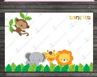 Jungle Safari Thank You Cards Printable - Instant Download