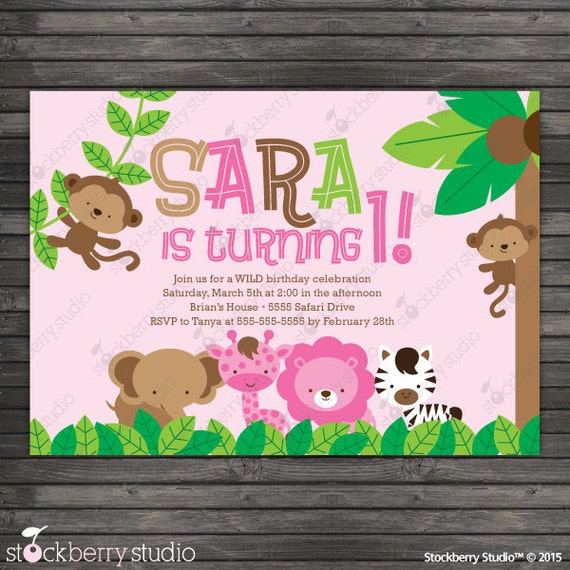 Pink Zebra Print Girls 1st Birthday Invitation: Girl Safari Birthday Invitation Printable