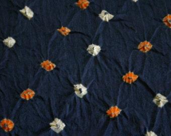 Dirty Dark Blue - Bandhani (Indian Tie-Dyed) cotton Fabric  (1 yard)