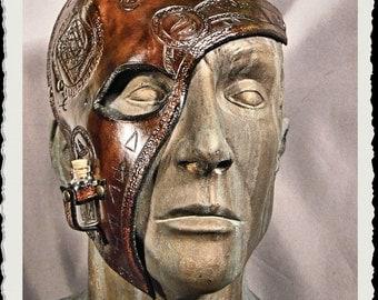 Brown leather half mask - Alchemist -