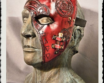 Red leather half mask - Alchemist -