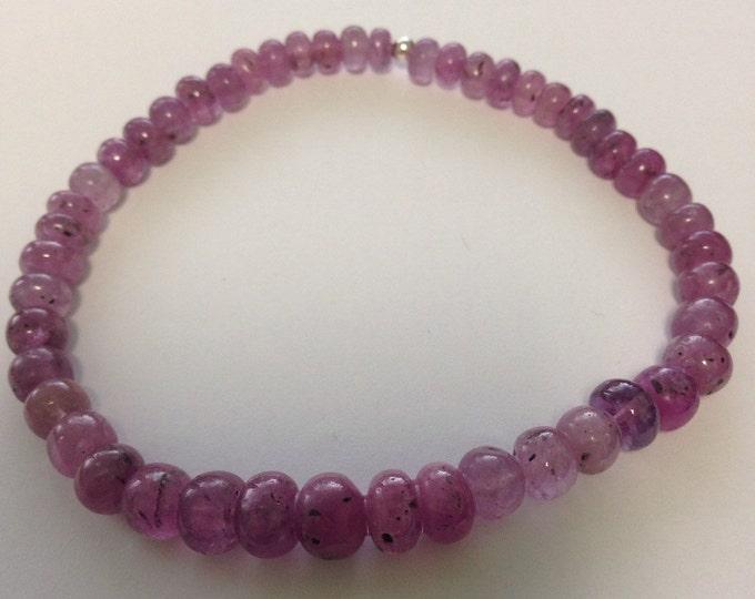 Purple (Pink) Sapphire Rondelle Sterling Silver Bead Bracelet