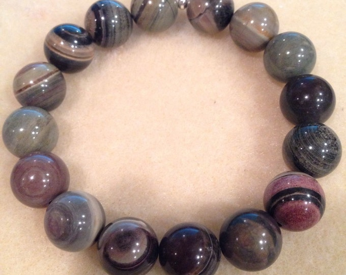 Silver Leaf Jasper 12mm Round Bead Stretch Bracelet With Sterling Silver Accent