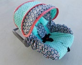 Aztec design in coral and bright mint minky baby car seat cover shown with optional headrest - Infant car seat cover - Custom order