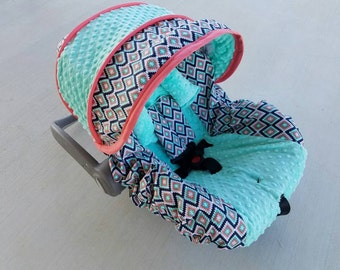 Baby Infant Seat Cover, Baby Canopy, Aztec Coral Mint cover, tribal girl baby seat cover, Infant custom car seat cover-FREE strap covers