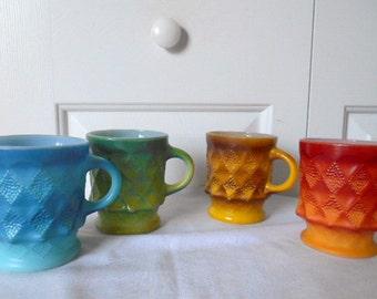 Vintage 70's retro Fire King coffee Mugs