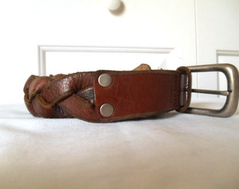 Vintage brown Leather braided FOSSIL Belt