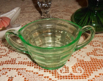 Mid Cenury Green Vaseline Two Handled Cup / Sugar Bowl