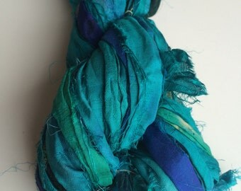 Recycled sari silk ribbon. 200g. Super aqua. Rich quality ribbon yarn, eco yarn, knitting ribbon, arts and craft yarn.
