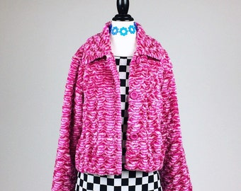 90's Groggy Pink and White Swirl Faux Fur Cropped Swing Coat // L - XL