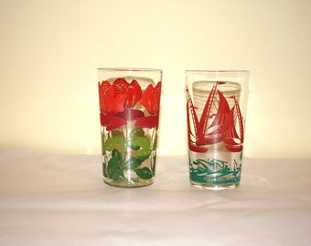 Water Goblets Red & Green Mid Century Water Glasses Vintage Pair Roses and Sailboats