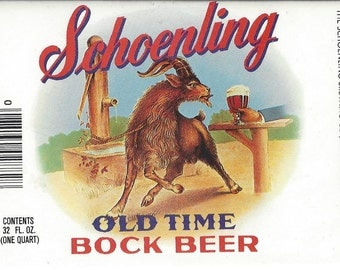 Schoenling Old Time Bock Beer Vintage Label, 1960s