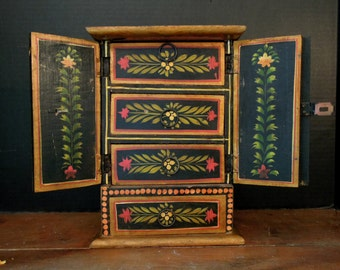 Vintage Gold Gilt and Black Jewelry Box / Mini Dresser / Made in India / Four Drawers / Hand Painted