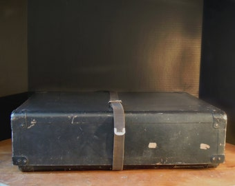 Vintage Black Laundry Mailing Box / Luggage Mailing Suitcase / Storage Box / Stackable / Fiberboard Box