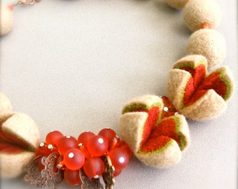 Necklace with copper fittings and glass beads Felted necklace Sand color felt necklace  Handmade OOAK Wool necklace