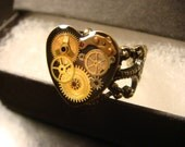 Steampunk Watch Part  Ring in AntiqueBronze- Made with real watch parts  (2045)