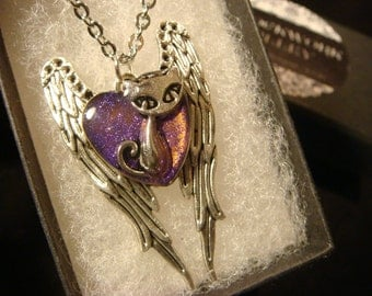 Flight of the Cat- Silver Cat on Angel Wings Necklace (2106)