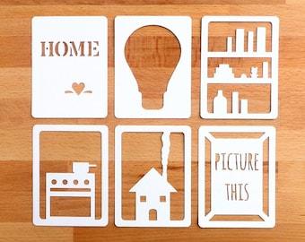 "Home 3x4"" Die Cut Cards, Home Life Pocket Scrapbooking, Filler Cards, Journaling Cards, Scrapbooking Embellishments, Everday Die Cuts"
