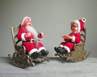 Flocked Plastic Mr & Mrs Santa Claus in Rocking Chairs | Santa and Mrs. Claus 1950s Christmas Decorations