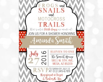 Frogs Snails and Puppy Dog Tails Baby Shower Invitation Boy Baby Invite Chevron Gray Red Black DIY Printable Invite PDF (#144)