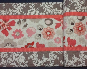 Coral and Brown Quilted Table Runner, Handmade Table Topper, Quiltsy Handmade